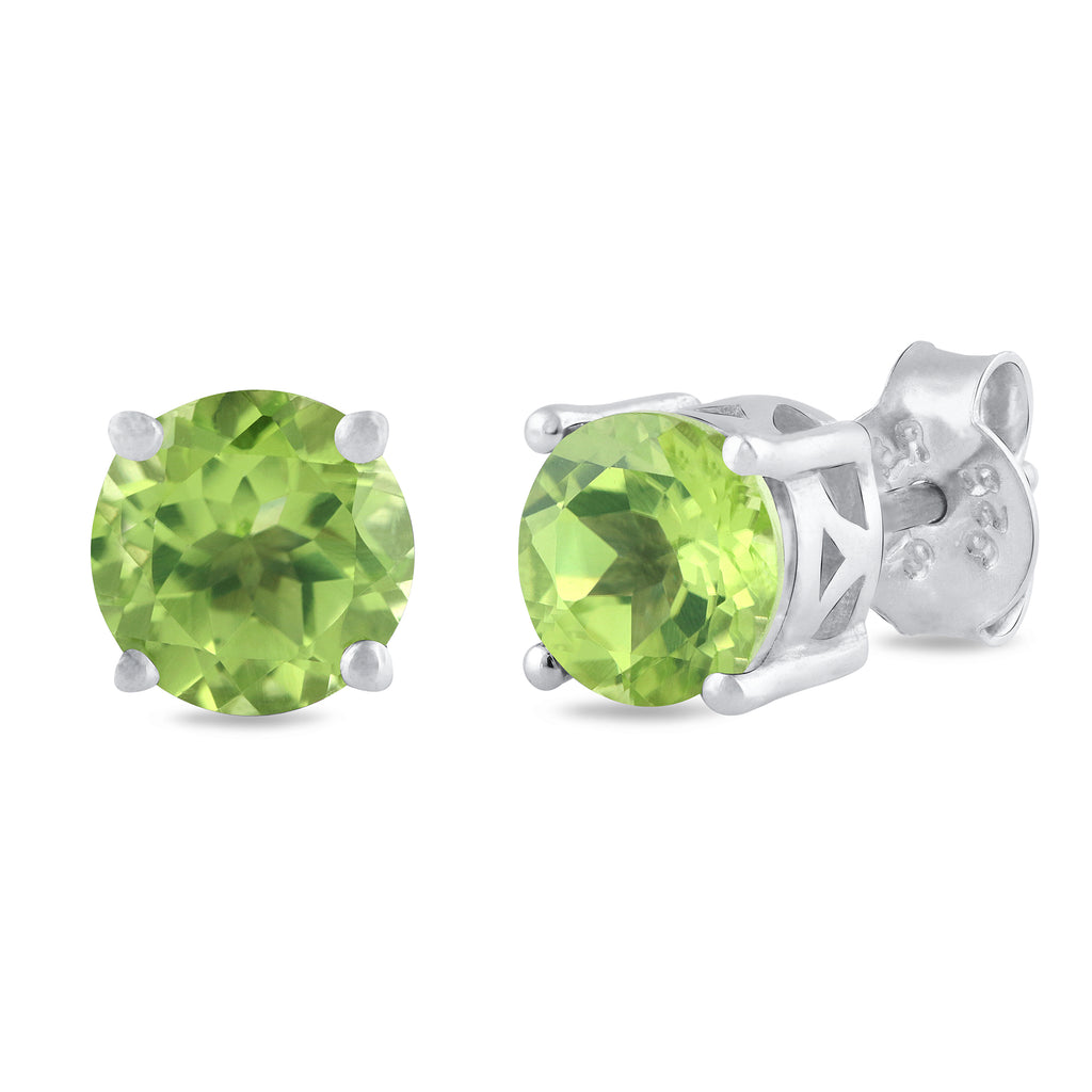 925 sterling silver rhodium plated round peridot stud earrings