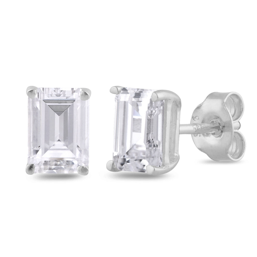 925 sterling silver rhodium plated octagon created cubic zirconia stud earrings