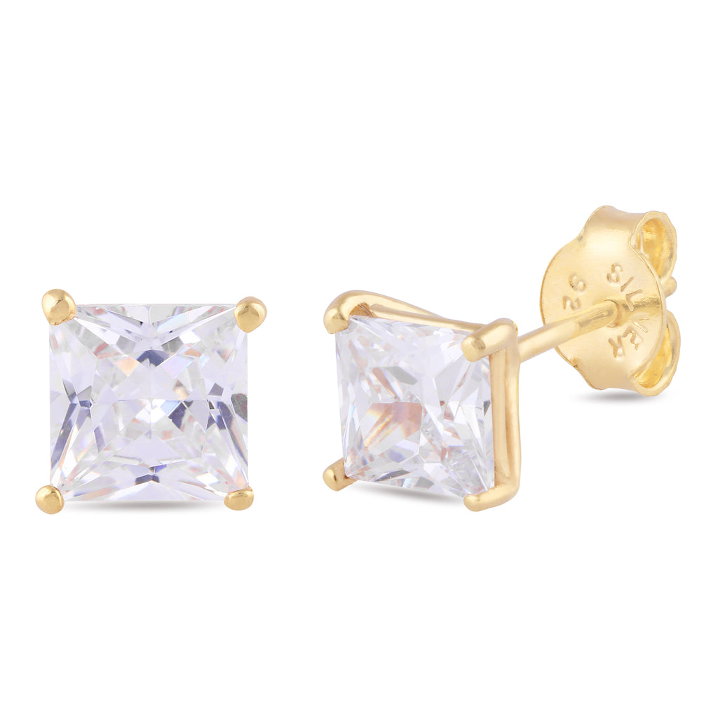 925 sterling silver rhodium plated square clear cubic zirconia stud earrings