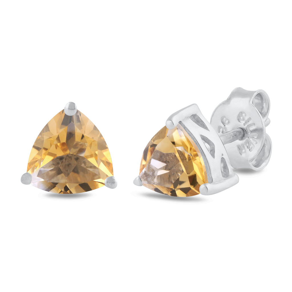 925 sterling silver rhodium plated trillion citrine stud earrings