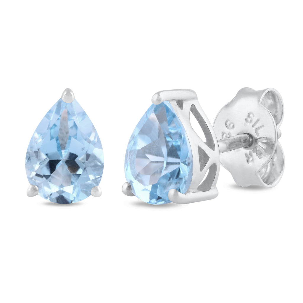 925 sterling silver rhodium plated pear sky blue topaz stud earrings