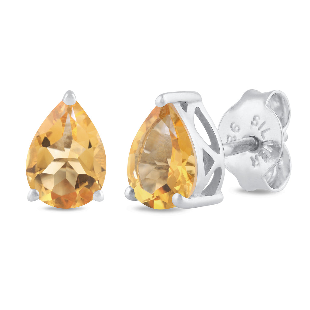 925 sterling silver rhodium plated pear citrine stud earrings