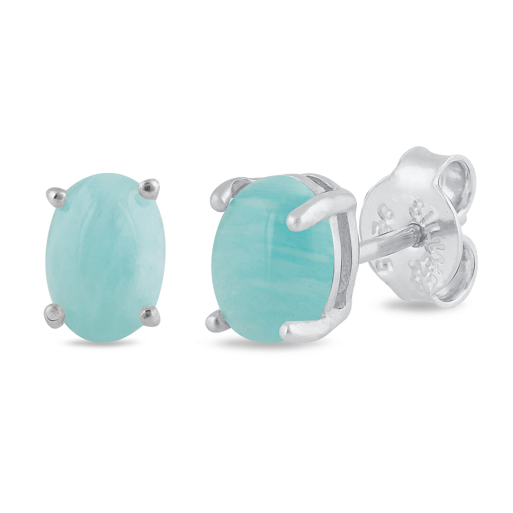 925 sterling silver rhodium plated oval created amazonite stud earrings