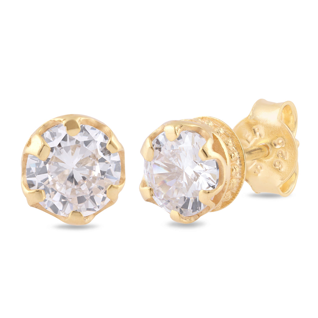 925 sterling silver rhodium plated round clear cubic zirconia stud earrings