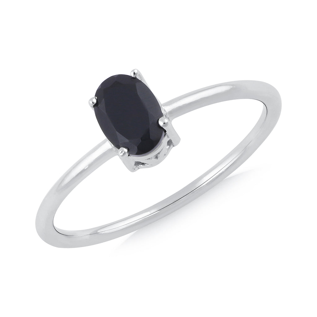925 sterling silver rhodium plated oval black onyx ring
