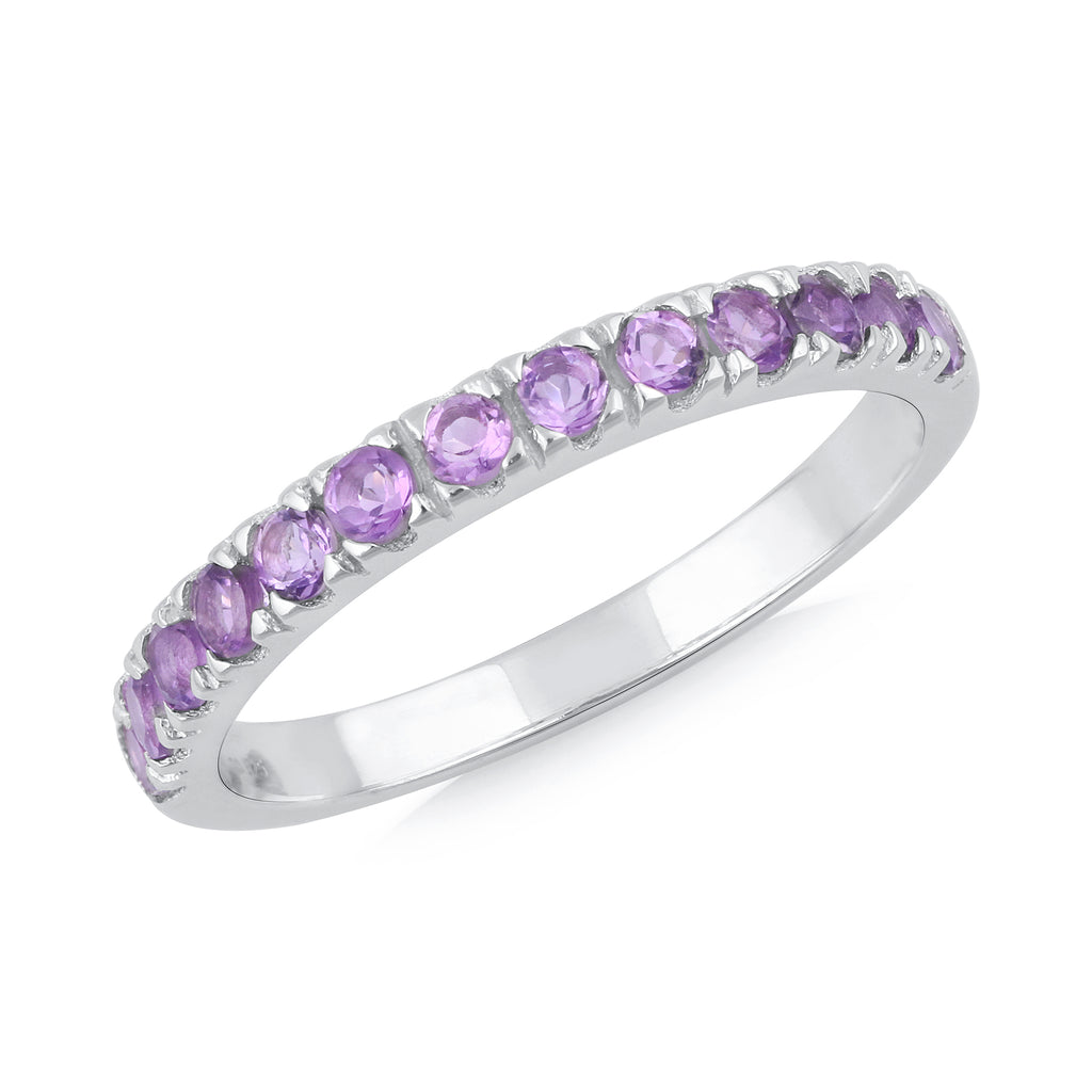 925 sterling silver rhodium plated round amethyst ring