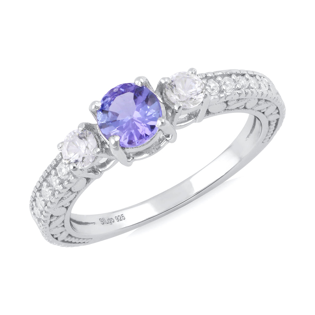 925 sterling silver rhodium plated round tanzanite, round natural clear zircon, round natural clear zircon ring