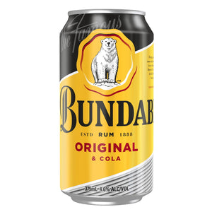 BUNDABERG ORIGINAL RUM & COLA 4.6% CANS 375ML 18 PACK