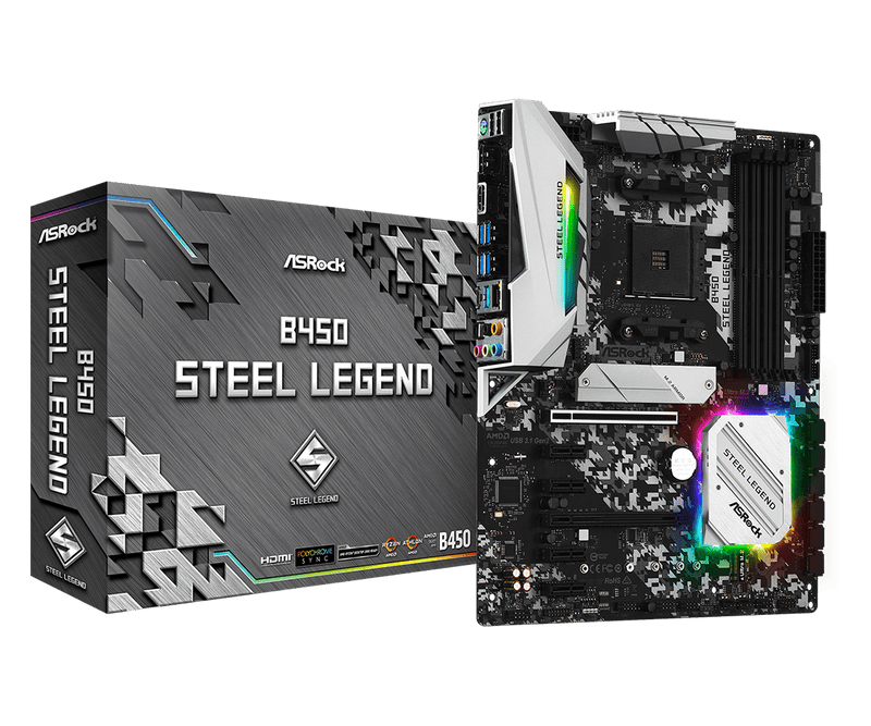 Asrock B450 Steel Legend - AMD AM4 - ATX AMD B450 moederbord socket AM4