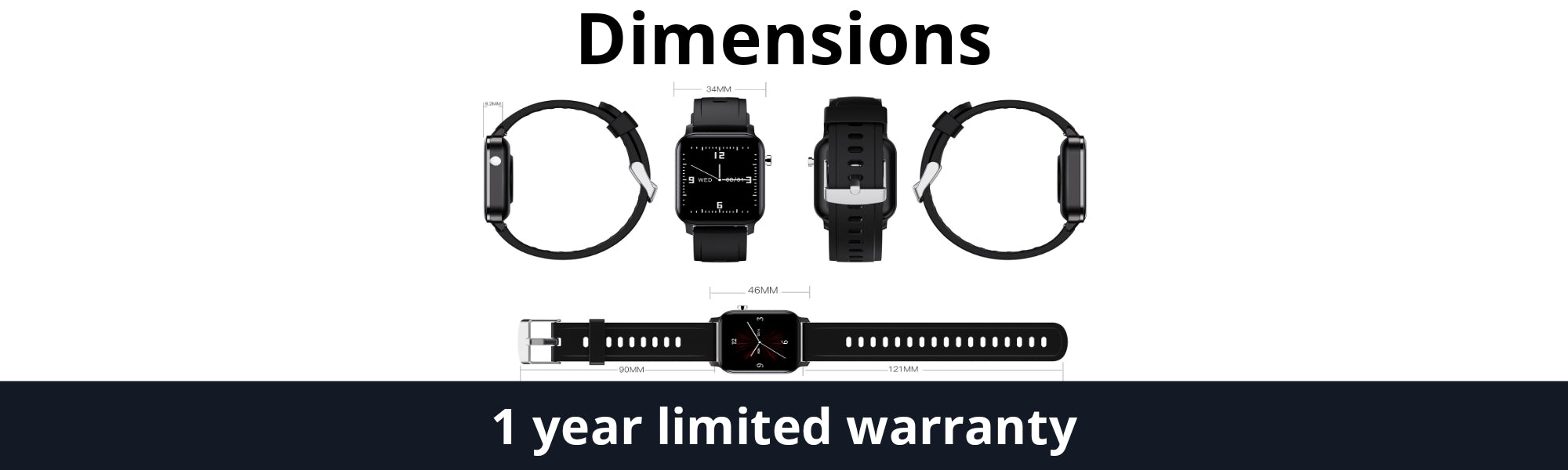 Vikyuvi Vikfit Elite Smartwatch dimensions and 1 year warranty