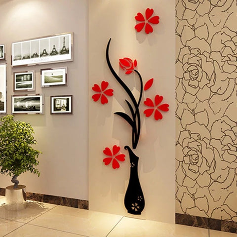 3d Vase Wall Murals for Living Room Bedroom Sofa Backdrop Tv Wall Sticker - YAXIR