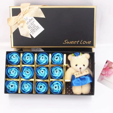 12 gradient Rose Scented with Little Bear Doll in Gift Box for Valentine is Day - YAXIR