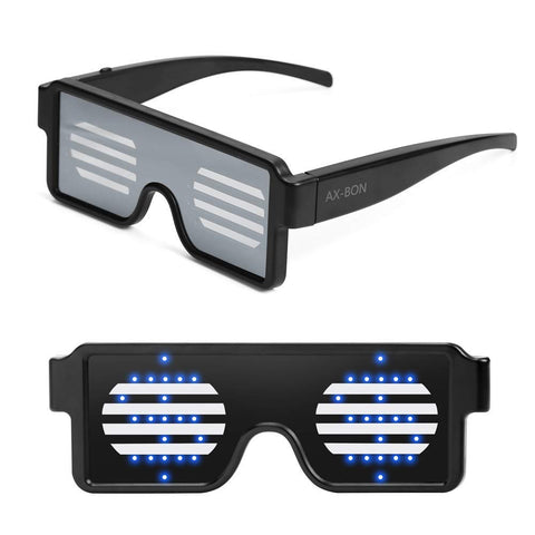 LED Glasses Grow Party Favor Super Cool Light Up Glasses with Display Pattern - YAXIR