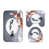Christmas Toilet Seat Three-Piece Non-Slip Absorbent Bathroom Mat - YAXIR