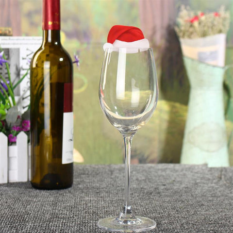 WS 10 Pcs/SET Table Place Cards Christmas Santa Hat Wine Glass Decoration - YAXIR
