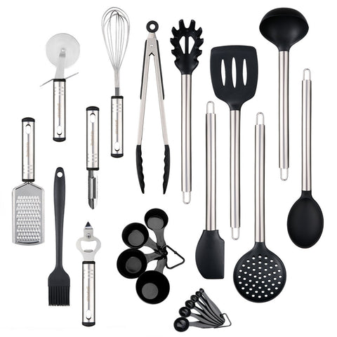 Kitchen Utensil Set Heat Resistant Silicone Heads Cooking Tools 23pcs - YAXIR
