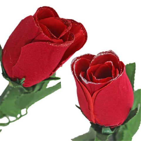 Valentine Day Single Wrapped Artificial Red Rose with Glitter - YAXIR