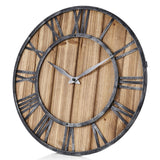 European Style Wooden Metal Non-ticking Quartz Wall Clock - YAXIR