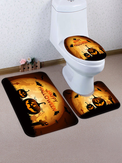 Halloween Moon Night Pumpkin Print 3 Pcs Toilet Mat Set - YAXIR