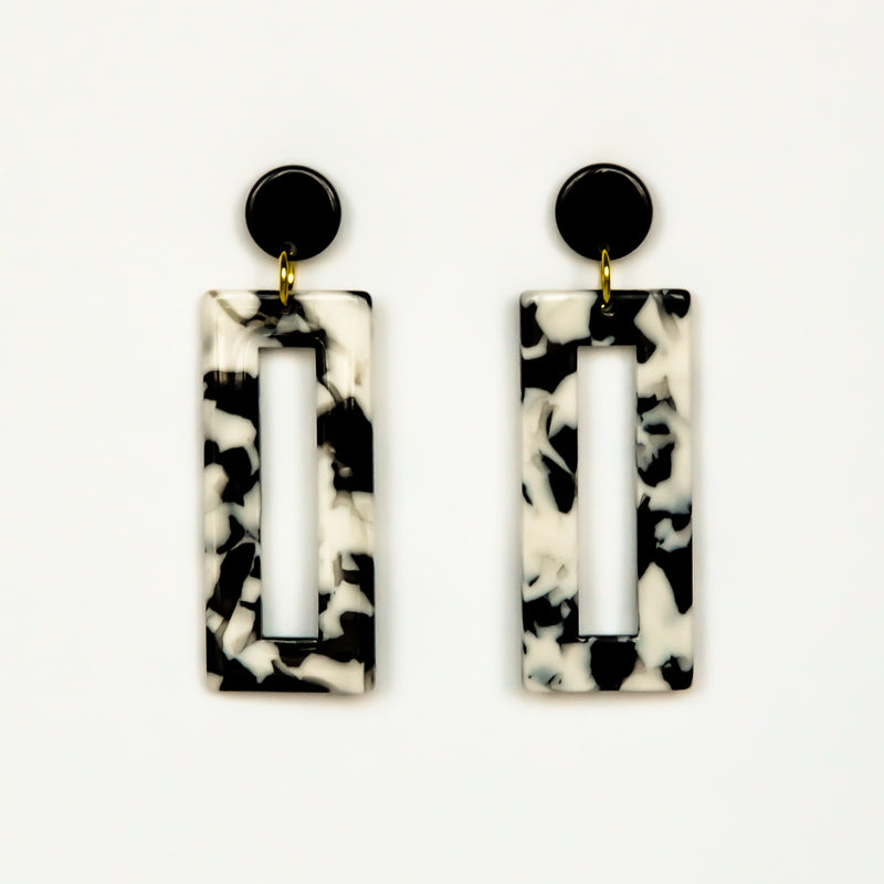 MOD Rectangle Earrings - Black Tortoise