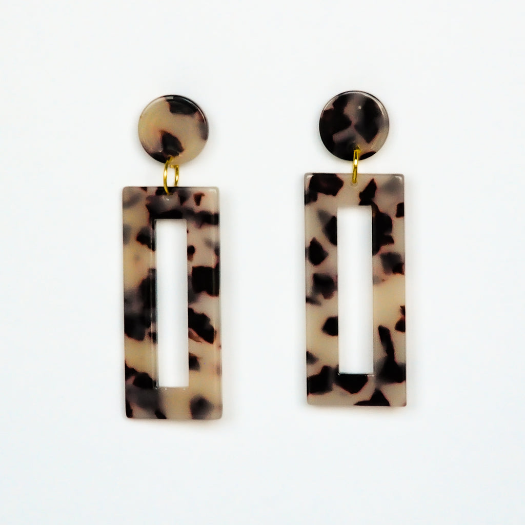 MOD Rectangle Earrings - Tortoise Light