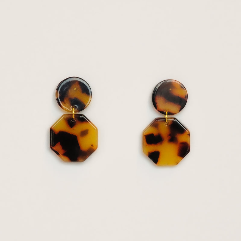 MOD Hex Earrings - Dark Tortoise