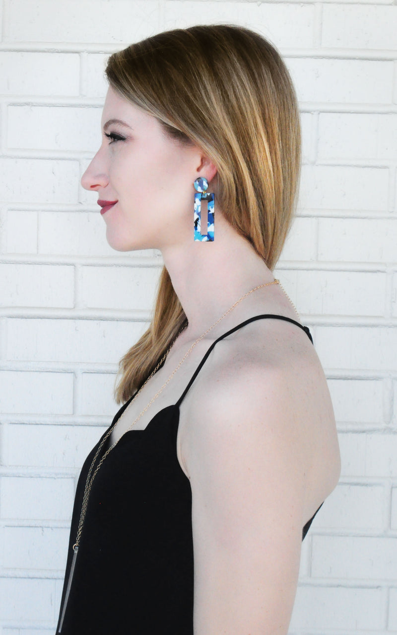 MOD Rectangle Earrings - Blue