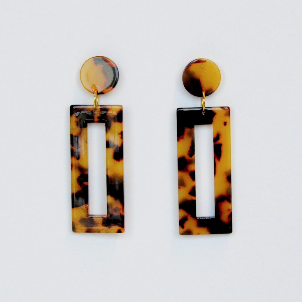 MOD Rectangle Earrings - Tortoise Dark