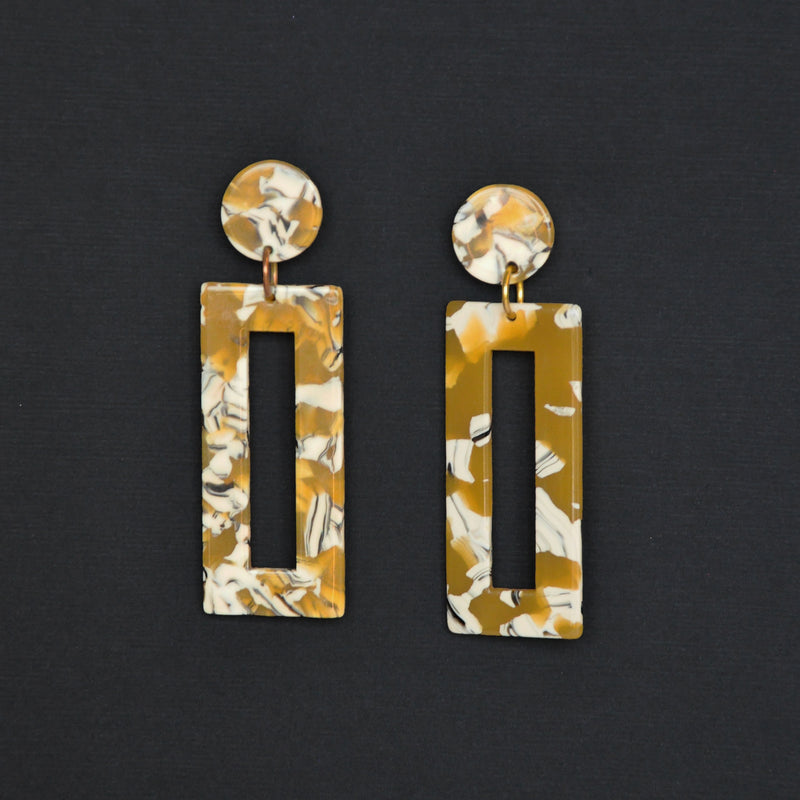 MOD Rectangle Earrings - Yellow