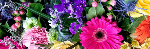 An assortment of bouquets hand-made by Marian, our Rice Road Greenhouses Florist
