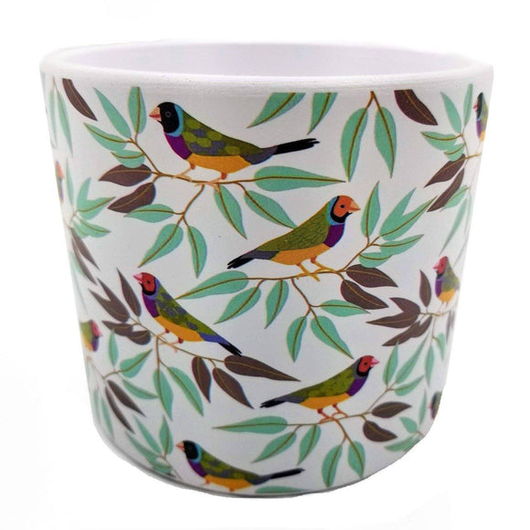 Pinch of Finches Printed Stoneware Pot - 4.25