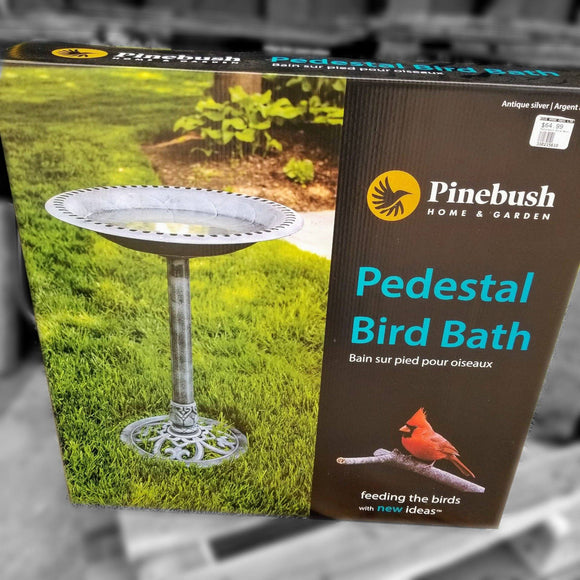 Pinebush Pedestal Bird Bath (Silver) - 27.5