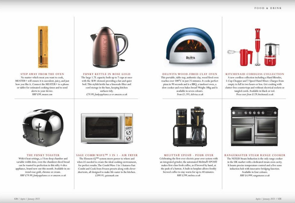 FUNKY KETTLE AND FUNKY TOASTER IN ASPIRE ESSEX MAGAZINE
