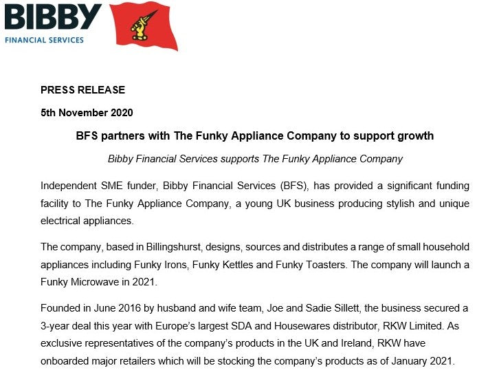 BFS PARTNERS WITH THE FUNKY APPLIANCE COMPANY TO SUPPORT GROWTH