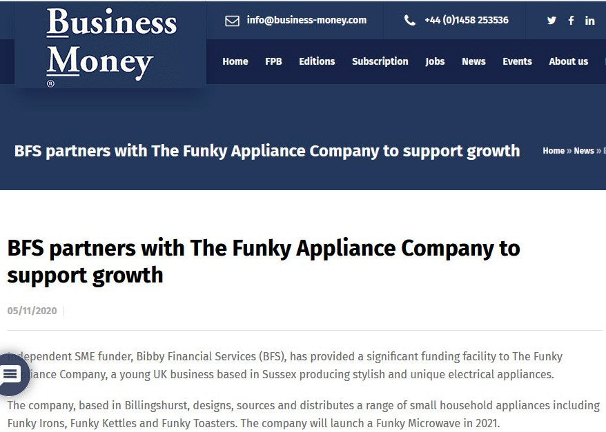 BUSINESS MONEY: BFS PARTNERS WITH THE FUNKY APPLIANCE COMPANY TO SUPPORT GROWTH