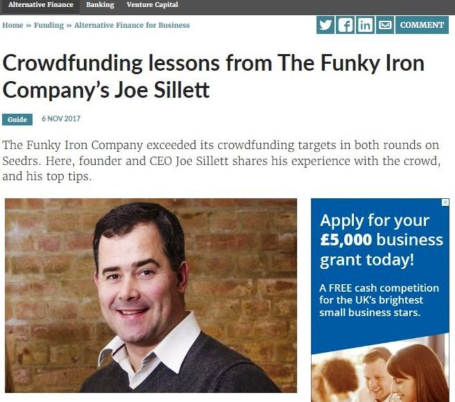 CROWDFUNDING LESSONS FROM THE FUNKY IRON COMPANY'S JOE SILLETT