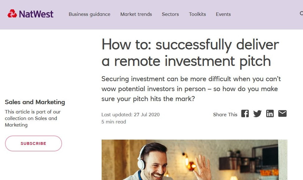 HOW TO: SUCCESSFULLY DELIVER A REMOTE INVESTMENT PITCH. CO-FOUNDER & CEO JOE SILLETT SHARES HIS THOUGHTS