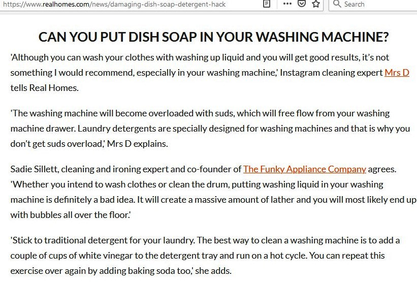 REAL HOMES: CAN YOU PUT DISH SOAP IN YOUR WASHING MACHINE?