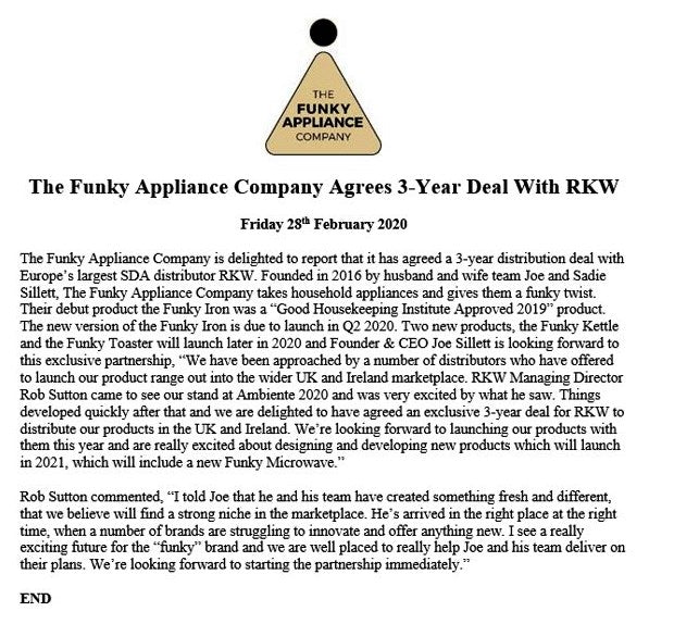 THE FUNKY APPLIANCE COMPANY AGREES 3-YEAR DEAL WITH EUROPE'S LARGEST SDA DISTRIBUTOR RKW