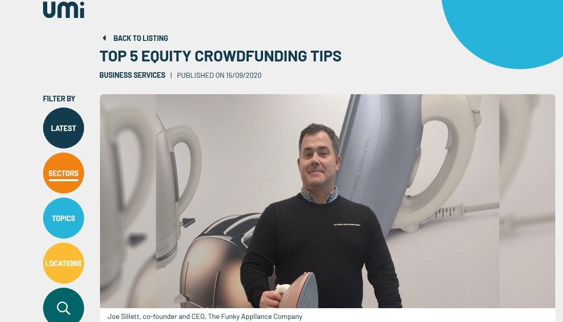 UMI: TOP 5 EQUITY CROWDFUNDING TIPS FROM JOE SILLETT