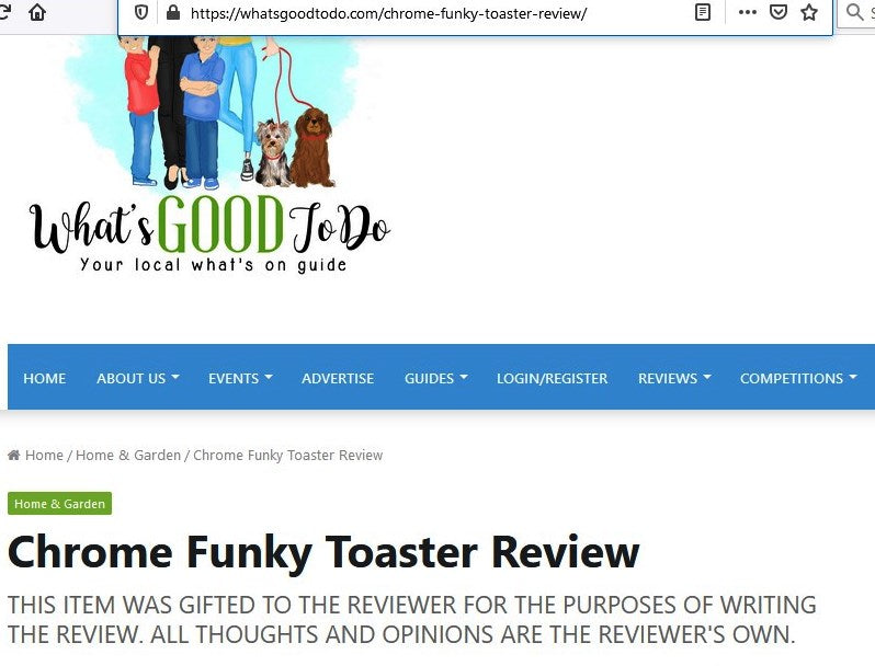 WHAT'S GOOD TO DO 5 STAR FUNKY TOASTER REVIEW