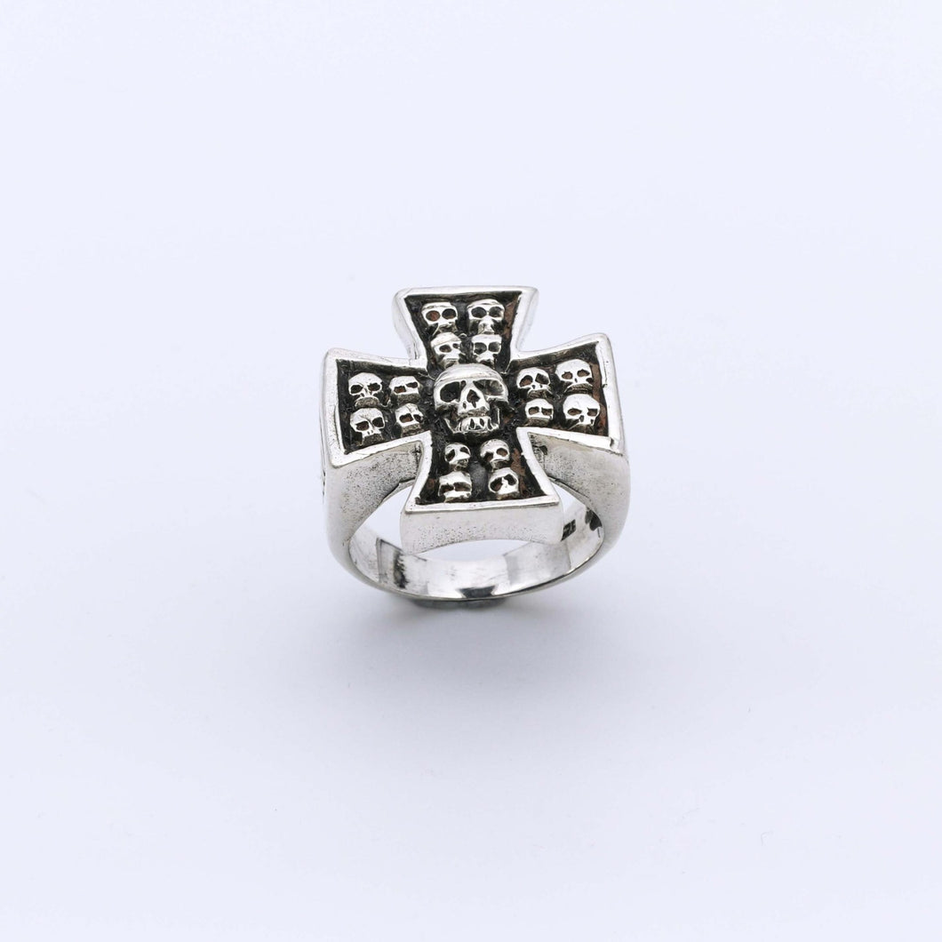 IC: ANILLO PLATA 925 CRUZ CALAVERAS