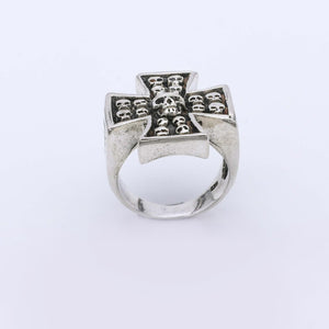 IC: ANILLO PLATA 925 CRUZ CALAVERAS 2