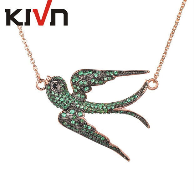 KIVN Fashion Jewelry Swallow CZ Cubic Zirconia Womens Girls Wedding Pendant Necklaces Christmas Mothers Day Birthday  Gifts