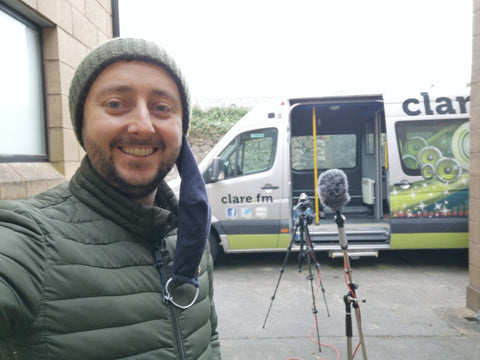 Gary Collins of SIAR Photography recording outside for Clare FM