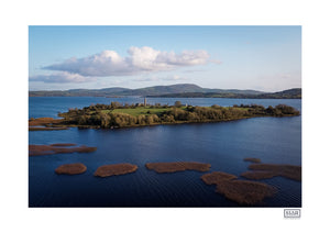 An aerial drone photograph of Holy Island on Lough Derg in County Clare