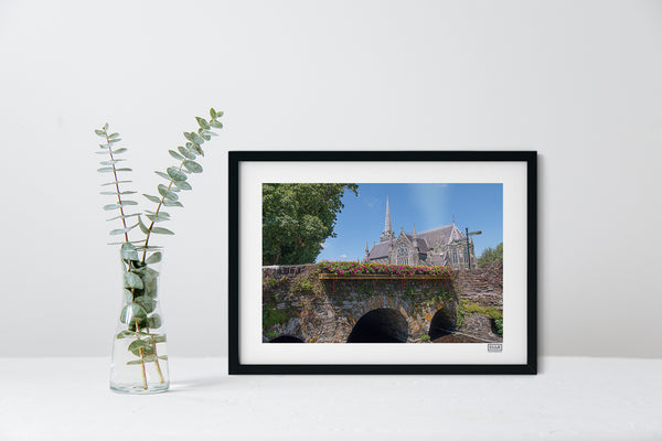 A black framed contemporary Wall Art Print of The Church of the Immaculate Conception, Clonakilty