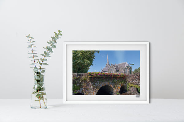A white framed contemporary Wall Art Print of The Church of the Immaculate Conception, Clonakilty
