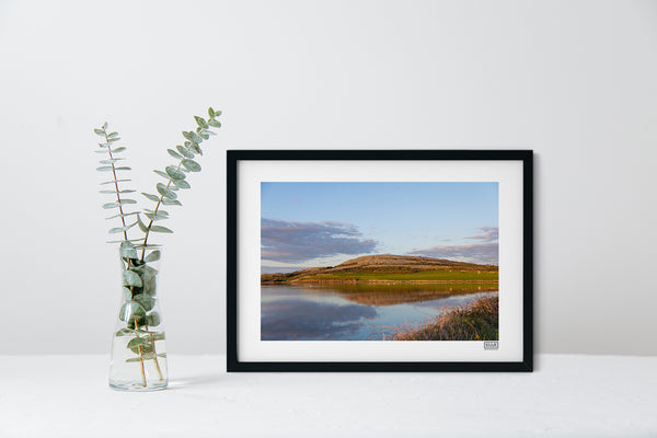 A Black Framed contemporary Irish Landscape Print of Mount Vernon on the Flaggy Shore