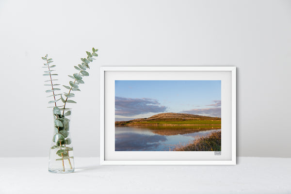 A White Framed contemporary Irish Landscape Print of Mount Vernon on the Flaggy Shore